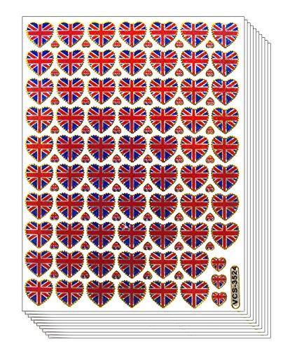 - HEARTUK - 10 Sheets Heart Shaped UK United Kingdom Flag Self-adhesive Glitter Metallic Foil Reflective Sticker Decorative Scrapbook for Kid, Birthday, Photo, Card, Diary, Album