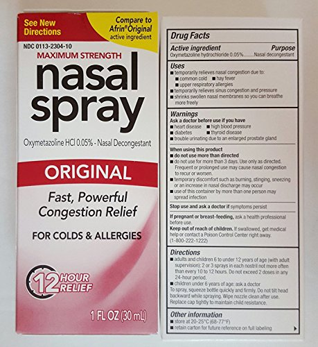 Hr Spray Nasal 12 (Compare to Afrin Original Perrigo Original Nasal Spray 12 Hour Spray 1 Fl Oz. (30ml) Pack of Two)