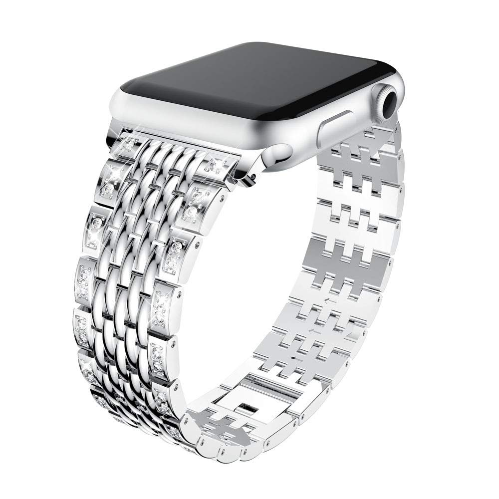 Lovewe Apple Watch Band With Bling Crystal,Comfortable Luxury Durable Metal Crystal Watch Band For Apple Watch Series 1/2/3 38mm/42mm (Silver, 38mm)