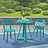 Great Deal Furniture 304952 Kate Outdoor Iron Bistro Set, Matte Teal