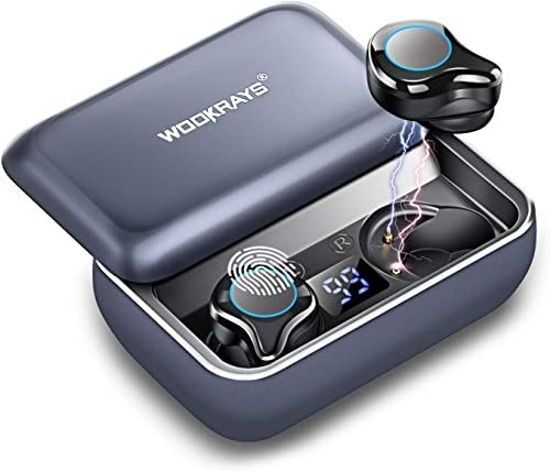 Wireless Earbuds, WOOKRAYS Bluetooth 5.0 Headphones with 3000mAh Charging Case 120H Playtime, 3D Stereo Sound IPX7 Waterproof in-Ear Bluetooth Earphones with Mic, Touch Control for Work Sports