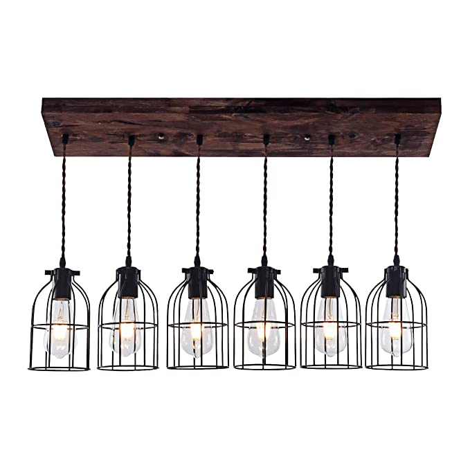 Wood lighting fixtures African Lighting Lightingpro Vintage Distressed Wood Lighting Fixture Industrial Farmhouse Style Wooden Chandelier Light With Metal Wire Cages Amazoncom Amazoncom Lightingpro Vintage Distressed Wood Lighting Fixture Industrial