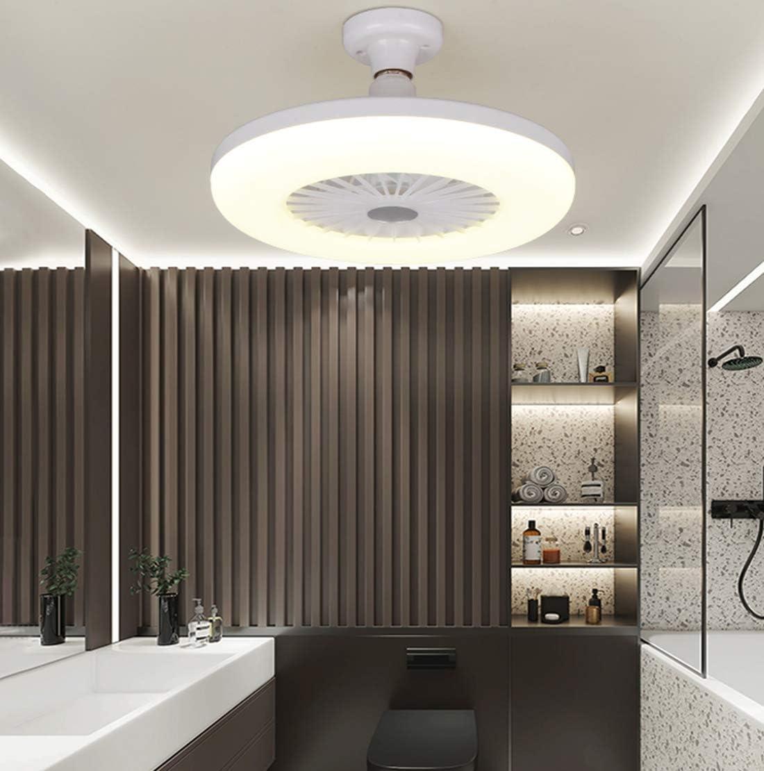 Luz de Techo LED para Ventilador, Dormitorio Moderno y Creativo de 30 cm Ventilador Silencioso invisible Hogar E27 Lámpara Ventilador de Cabeza Luz Para Dormitorio Sala de Estar Comedor