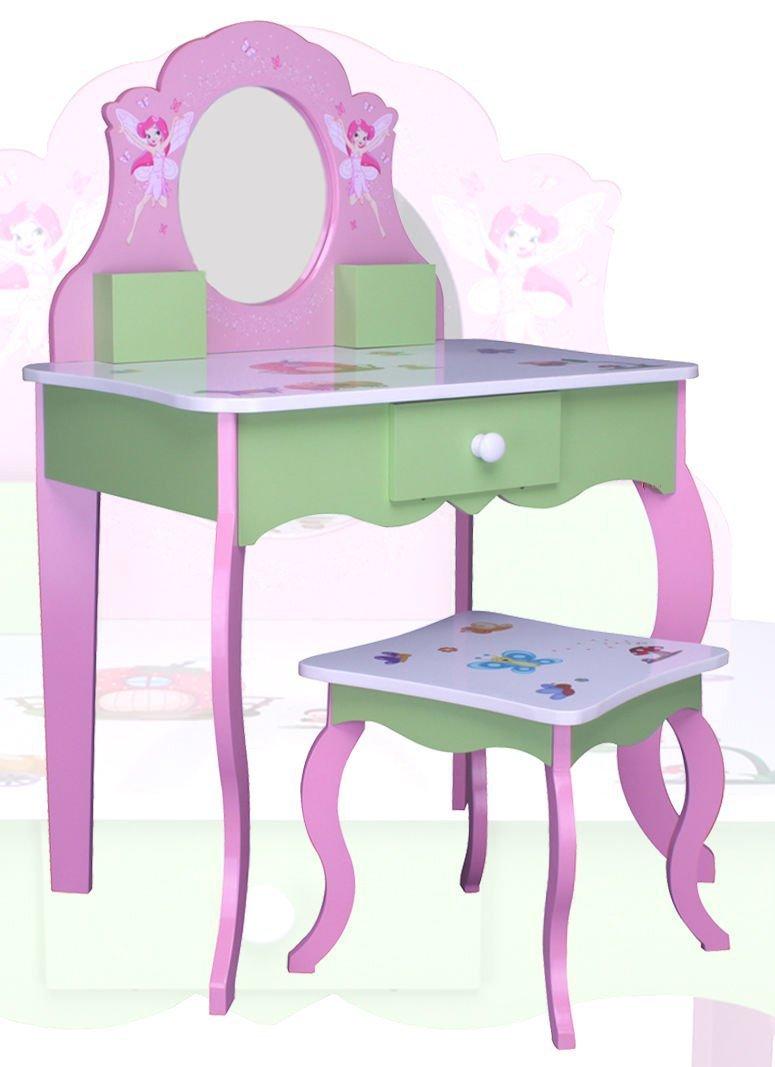 habeig SCHMINKTISCH #426 Kinderschminktisch Kindertisch Frisierkommode Prinzessin Spiegel Frisiertisch Hocker hot-stock