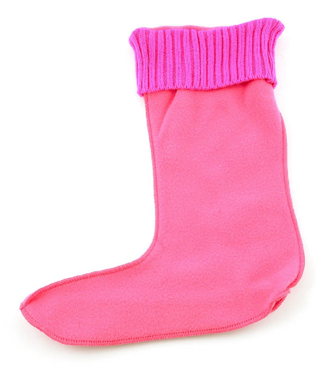 Corkys Womens Fashion Fleece Boot Warmer Sock-Rainboot Cold Weather Boot Liners (Large (10-12), Pink)
