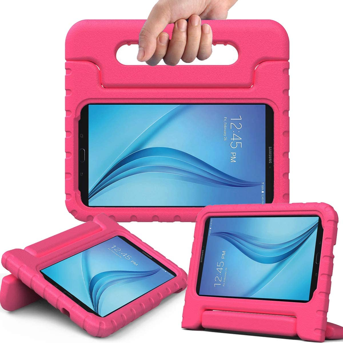 """AVAWO Kiddie Case for Samsung Galaxy Tab E Lite 7.0"""" - Shockproof Case Light Weight Kids Case Super Protection Cover Handle Stand Case for Children for Samsung Galaxy Tab E Lite 7-Inch Tablet, Rose"""