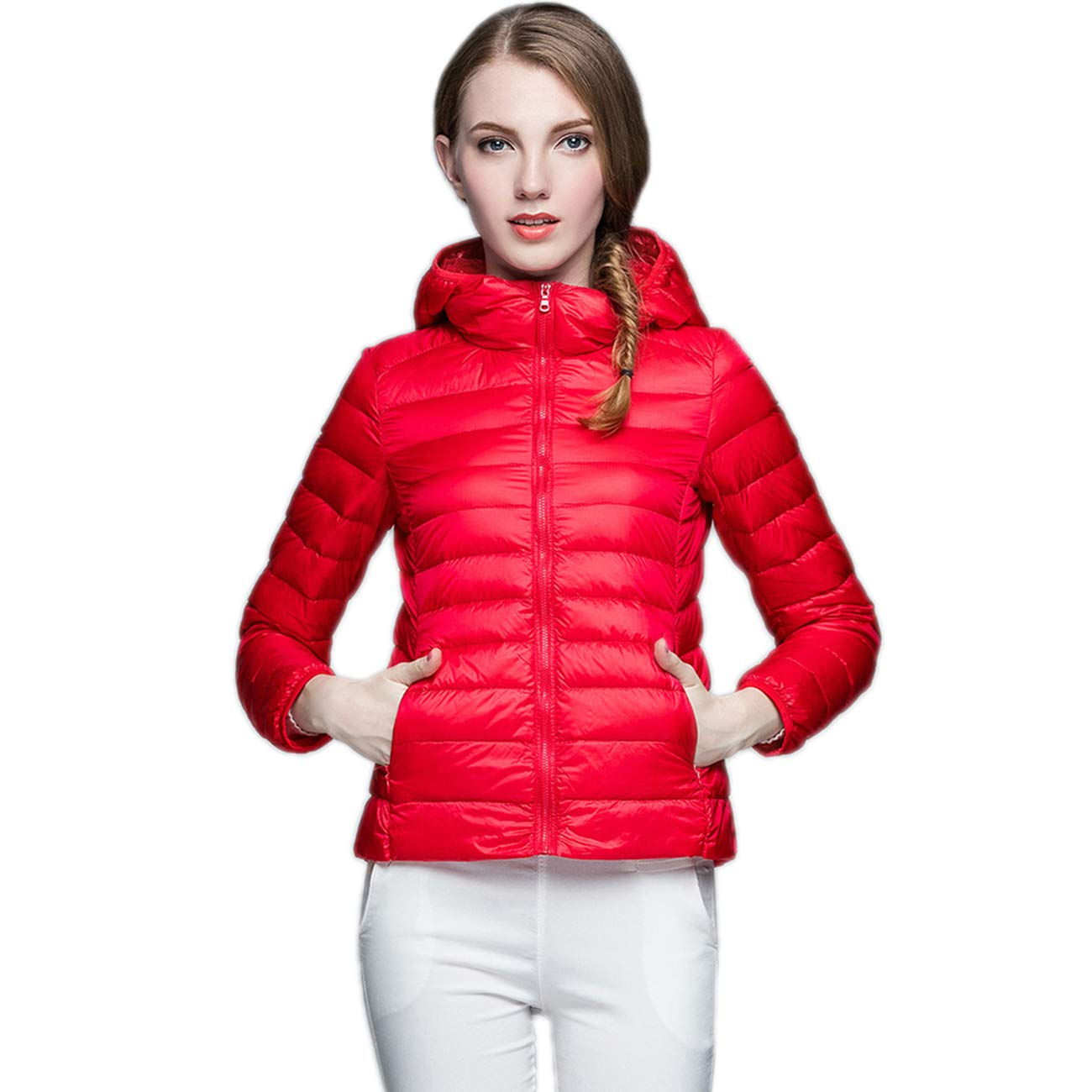 KIWI RATA Women's Hooded Packable Ultra Light Weight Short Down Jacket - Travel Bag by KIWI RATA (Image #3)