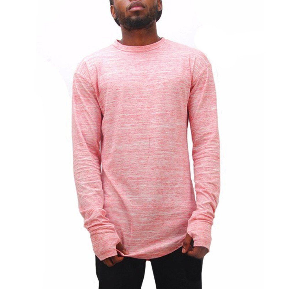 Shirts For Men,HOT SALE !! Farjing Men Casual Solid Color Long Sleeve Hollow Out cuff O-Neck Shirt Top Blouse(S,Pink)