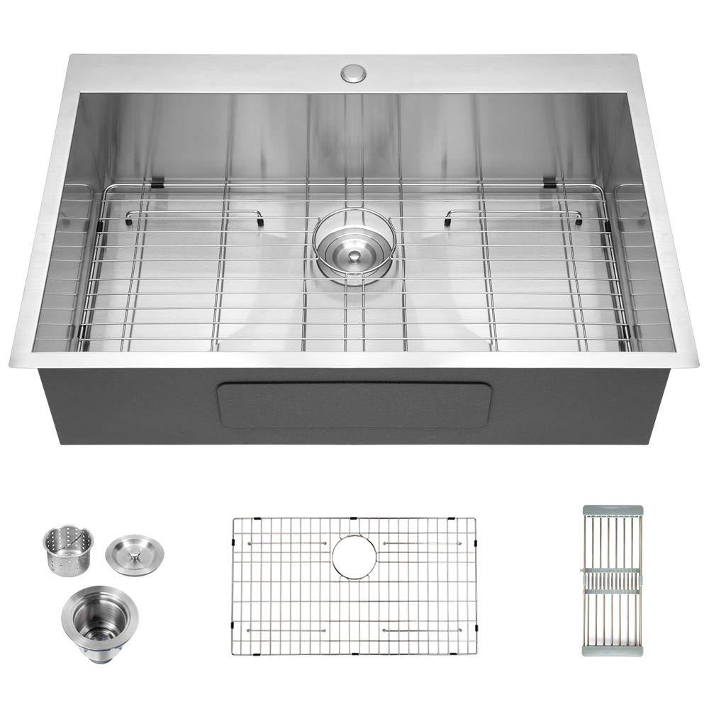 Logmey Luxury 33''x22'' Drop-in Topmount 18 Gauge Stainless Steel Kitchen Sink Single Bowl by LOGMEY