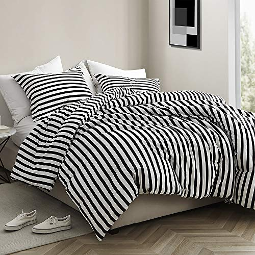 Byourbed Onyx Black and White Striped - Oversized Twin XL Comforter - 100% Cotton Bedding