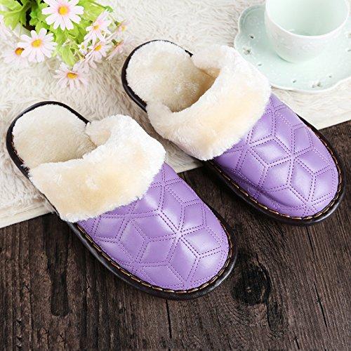 Sintética Zapatillas Piel Acolchada Interior Invierno Y Casual En 37 La Cálido Ladies Otoño Morado Zapatillas De 5n7xqPTwTv