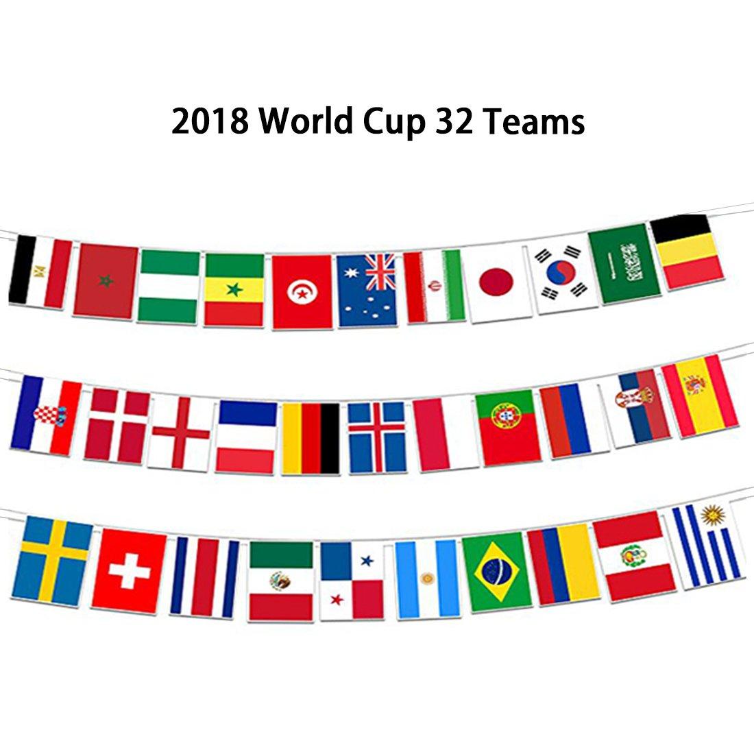 Banderines de la Copa Mundial de Dayoly 2018 con banderas rusas de fútbol, 10, 5 m, 7, 8 x 11 pulgadas, tamaño grande, juego de 32 banderas de campo, ...