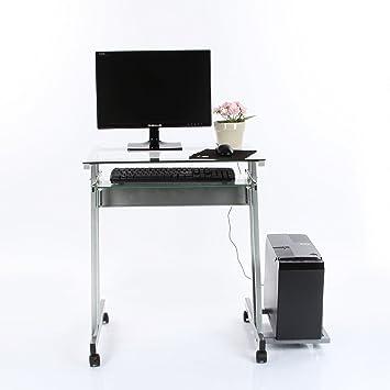 Vecelo, mesa informática / mesa para ordenador, de cristal, A ...