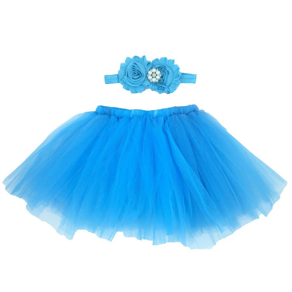 Tyidalin B颩 Fille Prop Photographie Infant Nouveau-n頃ostume Photo Prop Tutu Jupe + Bandeau (0-6 mois)- Bleu- Taille Unique
