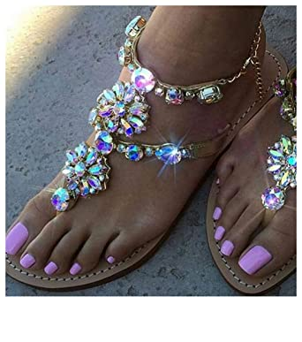 3eab057dd Women Girls Fashion Sweet Bohemia Beaded Crystal T-Strap Chain Flat Sandals  Comfort Summer Herringbone