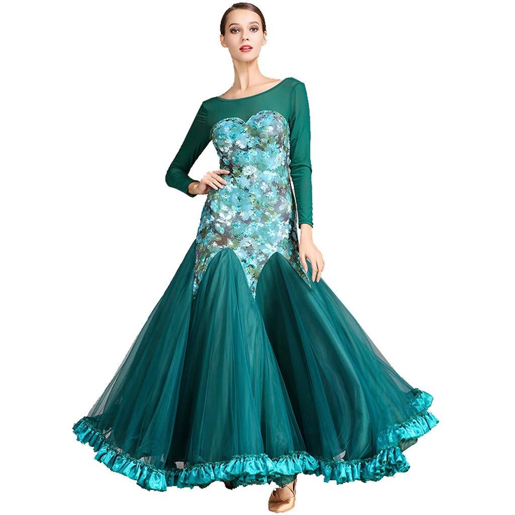 Dark Green Adult Modern Dance Skirt Dress, Ladies Long Sleeve Round Neck Waltz Skirt