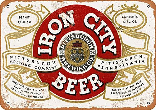 (1933 Pittsburgh Iron City Beer Vintage Look 8 x 12 Metal Tin Sign Wall Art Post)