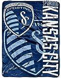 kc techno - Officially Licensed MLS Sporting Kansas City Concrete Micro Raschel Throw Blanket, 46