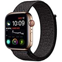 Haotop Replacement Bands Compatible with Apple Watch, Woven Nylon Sport Loop Band Wristband Replacement Bracelet for iWatch Straps Series 4/3/2/1 (42MM/44MM, Glisten Black)