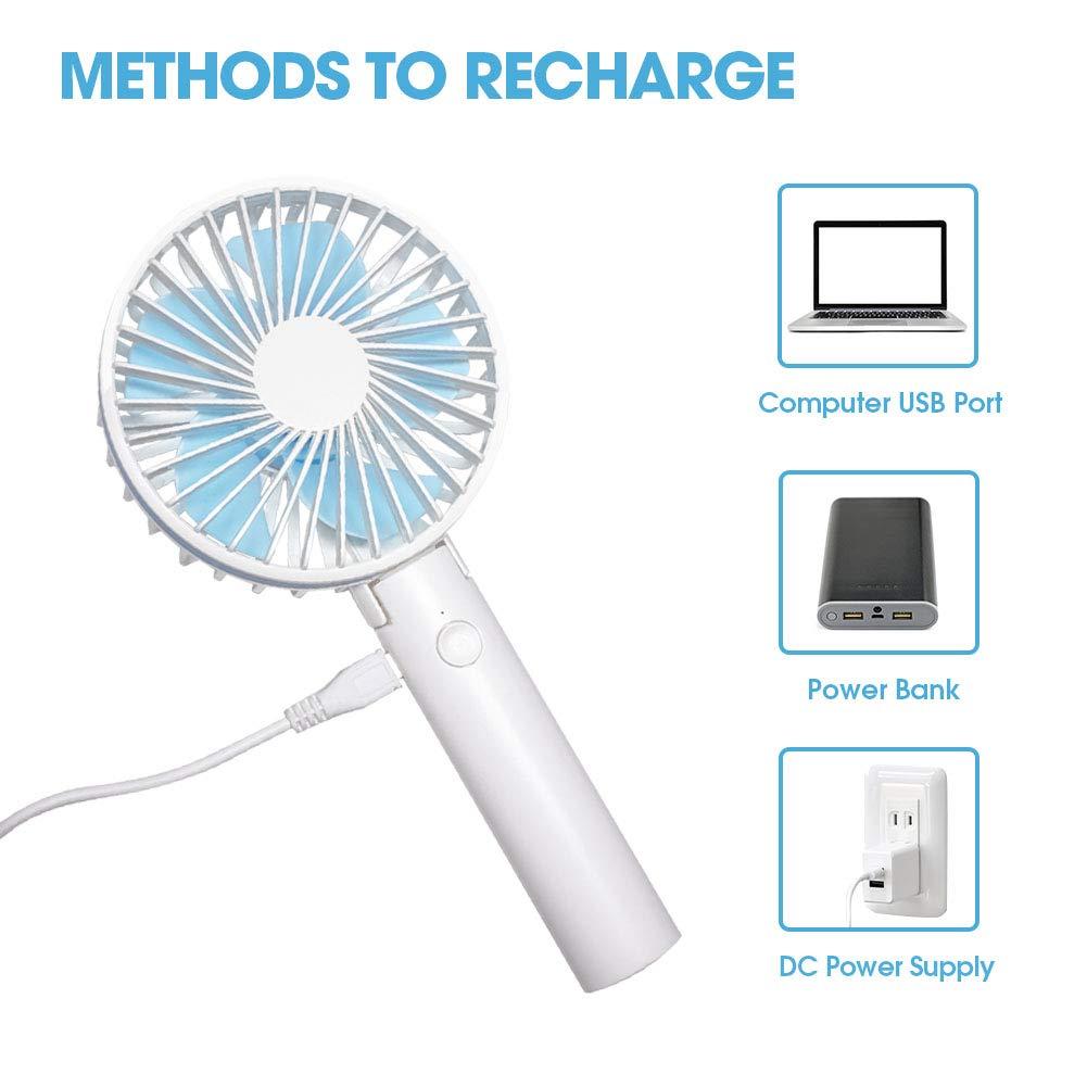 TENRIOS Ventilatore a mano Mini ventilatore elettrico personale ricaricabile e portatile 5 velocit/à regolabili per Home Office Desk e viaggi estivi allaria aperta