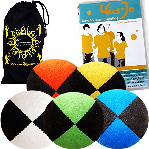 5x Pro Thud Juggling Balls - Deluxe (SUEDE) Professional Juggling Ball Set of 5 with ''Kid-Jo Learn To Juggle'' DVD, and Fabric Travel Bag. (Black/White) by Flames N Games Juggling Ball Sets