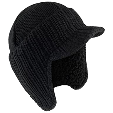 d38946c9f17 Dennis Warm series New Mens Peaked Beanie Ear Flaps Work Outdoor Knit  Winter Warm Fleece Lined Cap Hat  Amazon.co.uk  Clothing