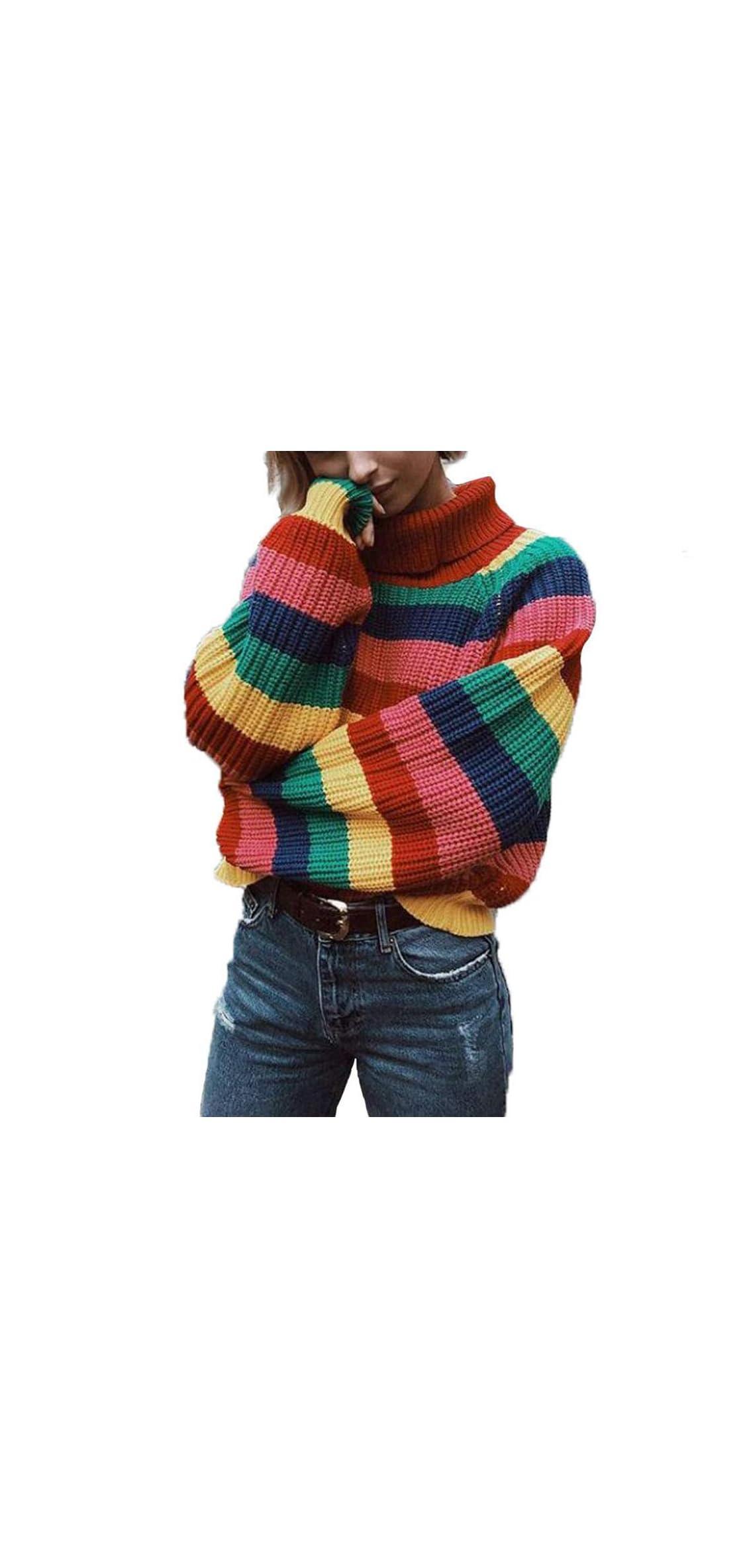 Womens Long Sleeve Striped Rainbow Striped Top Turtleneck Jumper