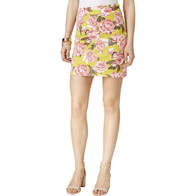 Inc Womens Yellow Floral Above The Knee A-Line Skirt US Size