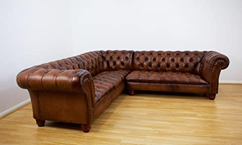 Chesterfield ecksofa  Amazon.de: Chesterfield Ecksofa, in Hand Antik Braun Leder
