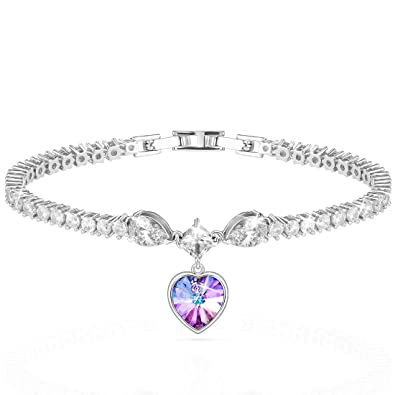 Lydia Queen Heart of Ocean Tennis Bracelet for Women Made with Crystals  Round Cubic Zirconia - Blue Purple Charm Bracelets Jewelry for Her for  Anniversary ... 03c883ec99c8
