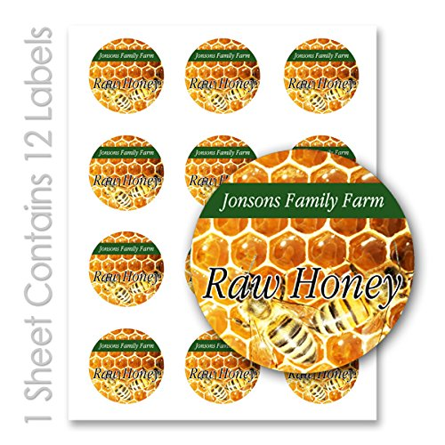 Raw Honey Storage - Raw Honey Farm Kitchen Personalized Name Round Mason Jar Labels (Label-12, 120 Labels on 10 Sheets)