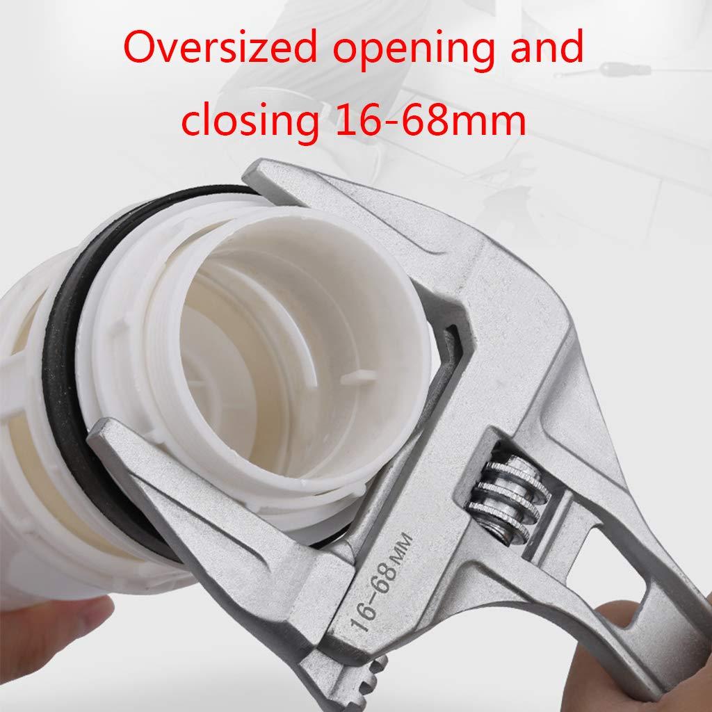 tornillo de ba/ño Llave inglesa ajustable con extremo abierto grande de aleaci/ón de aluminio herramienta de reparaci/ón universal para tuber/ía de agua Qiulip