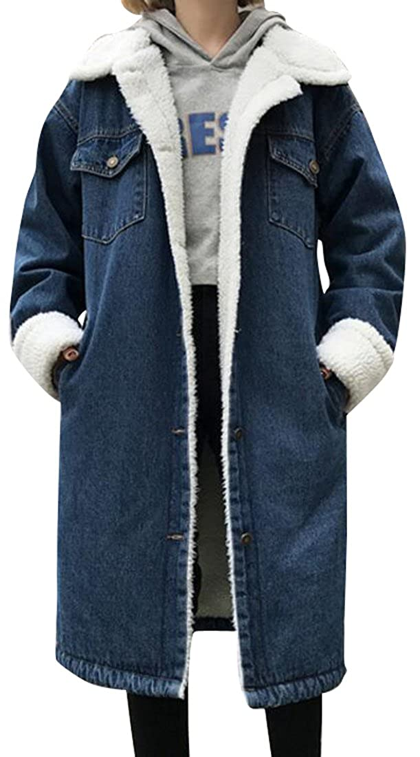 Fensajomon Womens Winter Washed Button Front Fleece-Lined Denim Jacket Coat