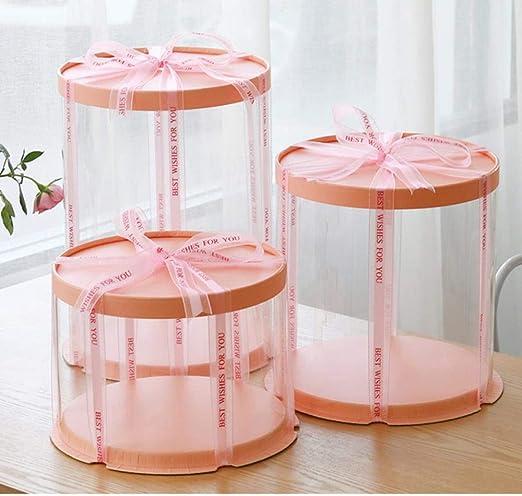 Nueva caja de pastel redonda Patrón redondo transparente Tarta de ...
