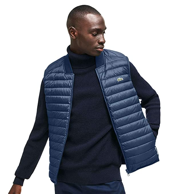 119d45727 Lacoste Mens BH9415 Short Contrast Lined Quilted Water Resistant Vest   Amazon.co.uk  Clothing