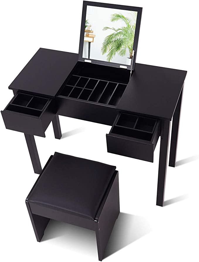 Giantex Vanity Set With Flip Top Mirror And Cushioned Stool Makeup Dressing Table Writing Desk With 2 Drawers 3 Removable Organizers Makeup Table Set Easy Assembly Black Kitchen Dining