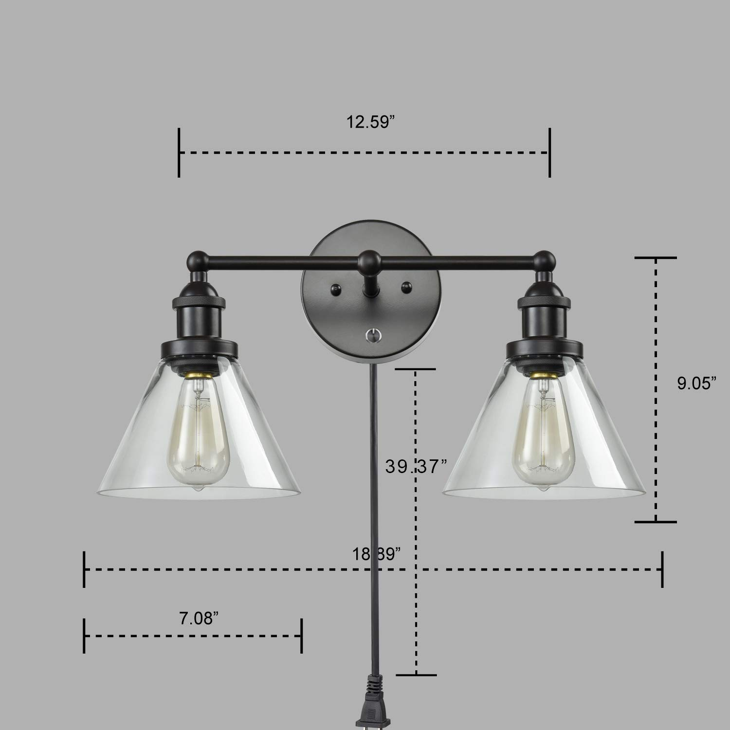 CLAXY Ecopower Lighting Mordern Glass & Metal 3-Lights Wall Sconce by CLAXY (Image #7)