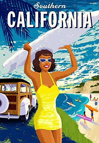 Southern California Beach Ocean Surf United States Travel Advertisement Poster