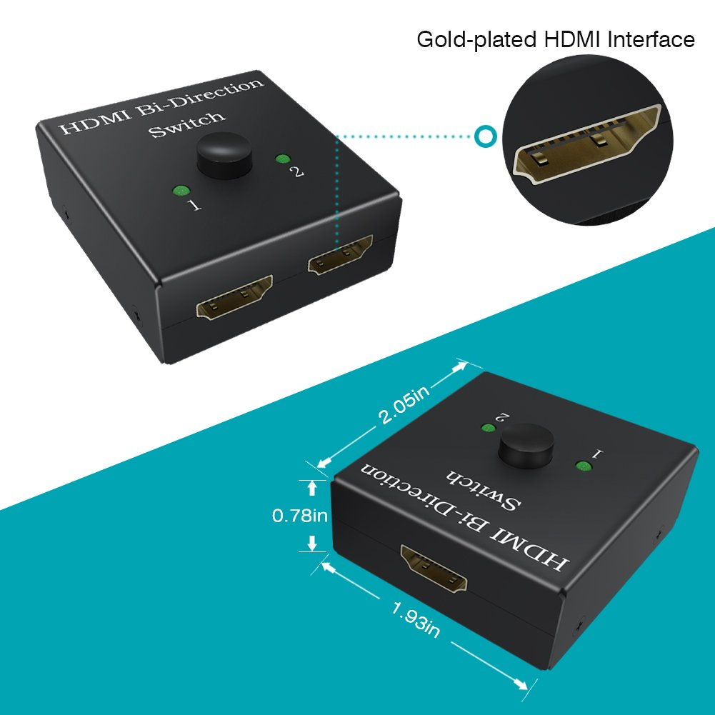 HDMI Switch with High-Speed HDMI Cable Bi-Direction Switcher 1 in 2 Out/2 in 1 Out HDMI Splitter Support HDCP Ultra HD 4k 3D 1080p for HDTV/PS4/DVD/DVR/Xbox etc … by BELITE (Image #6)