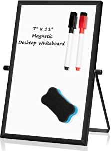 """Small Desktop White Board – 7"""" x 11"""" Portable Mini Dry Erase Whiteboard for Students Double Side to Do List Dry Erase Board with Stand for Office, School, Home"""