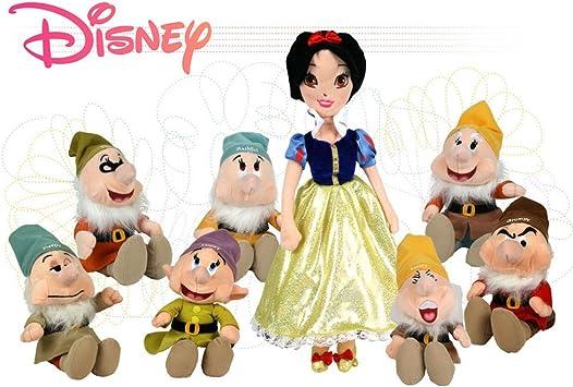 Disney - Pack Blancanieves (32cm) y los siete enanitos (26cm) - Surtido 8 Perosnajes - Calidad super soft: Juguetes y juegos - Amazon.es