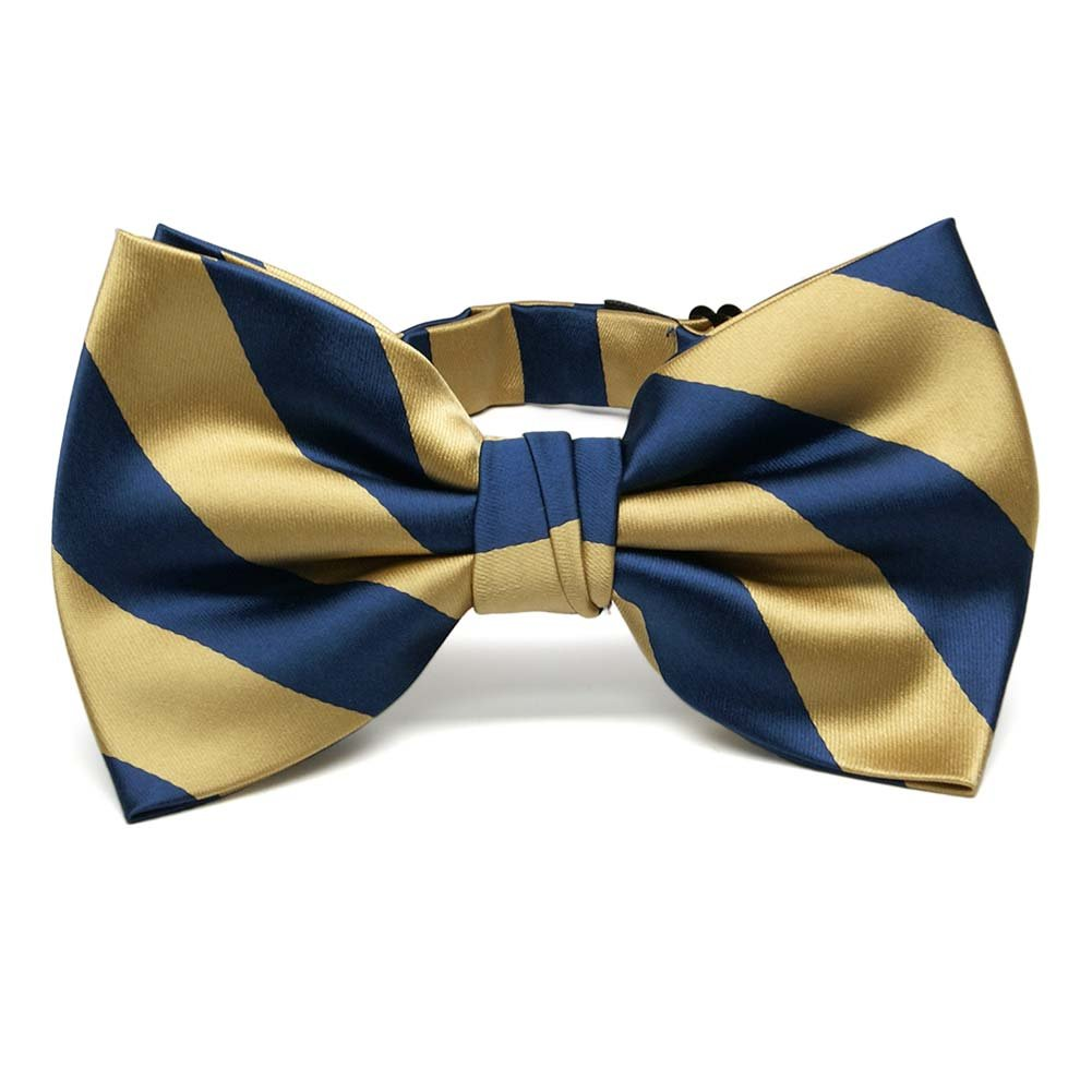 TieMart Pale Gold and Twilight Blue Striped Bow Tie