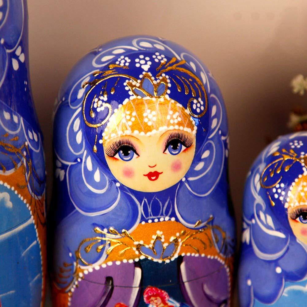 Moonmo 7pcs Beautiful Flower Handmade Wooden Russia Nesting Dolls Gift Russian Nesting Wishing Dolls Matryoshka Traditional by Moonmo (Image #3)