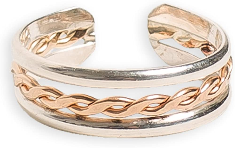 Toe Ring | Braid Stack .925 Sterling Silver & 14K Gold Fill | Adjustable Ring for Foot Or Midi | Unisex for Men or Women