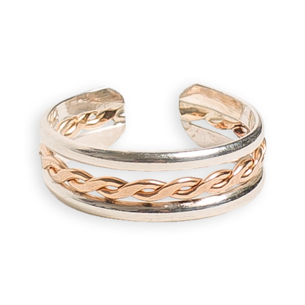 Toe Ring | Braid Stack .925 Sterling Silver & 14K Gold Fill | Adjustable Ring for Foot Or Midi for Women, Girls, Or Men