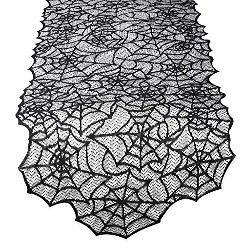 Lewondr Rectangle Multifunctional Tablecloth, Long Halloween Black Lace Spider Web Design Table Cover Runner, Flexible Polyester Tabletop Fireplace Window Decor for Dinner Party Kitchen - Black]()