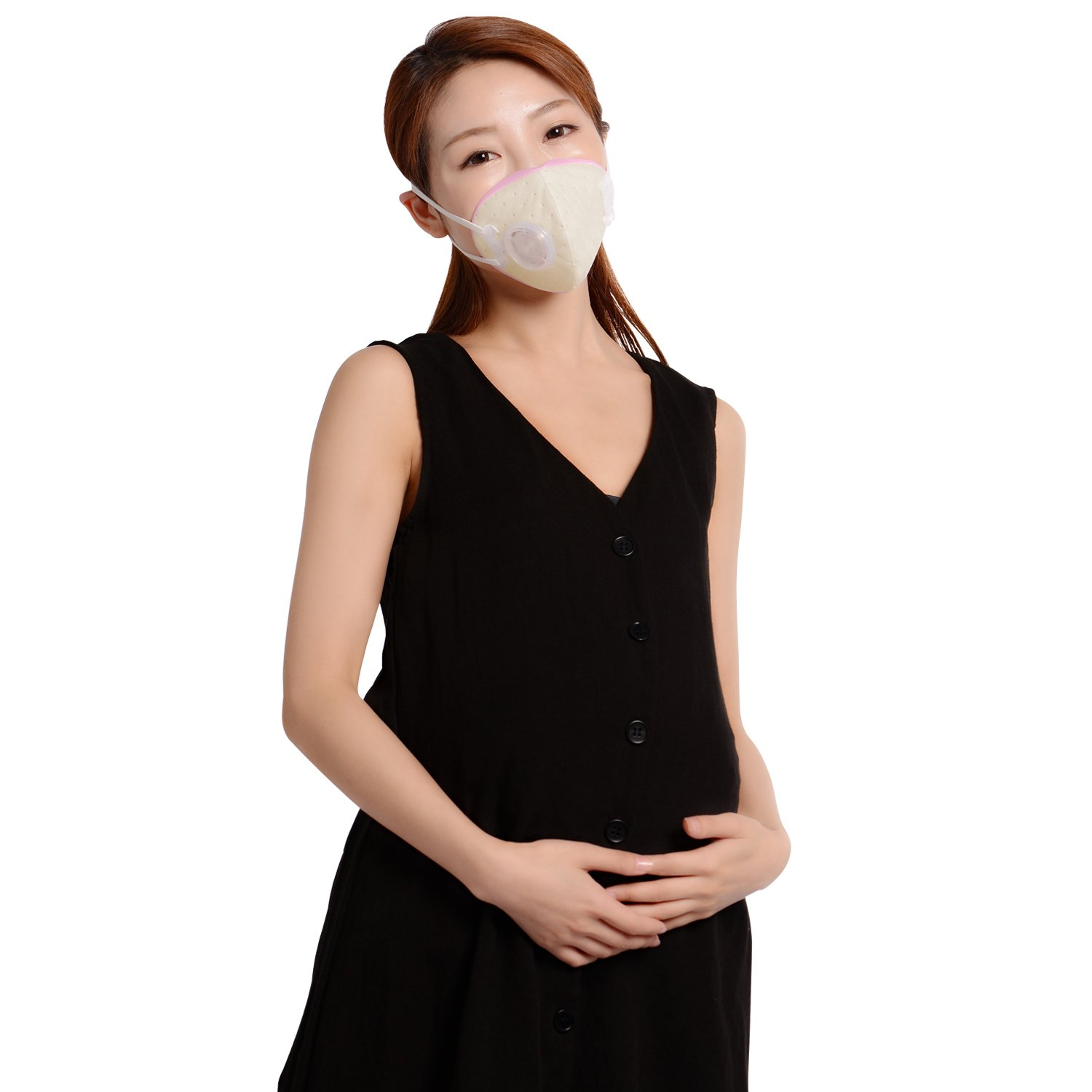 KANJEKANLE Breathable Face Masks Reduce Pollen,Dust,Dancer, Automobile Exhaust,Pet Hair,Particles,PM2.5 (Pregnant, Pink+Filter)