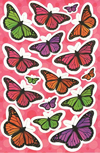 Horizon Group USA Critters and Creatures Sticker Fun ~ Colorful Monarch Butterflies (16 Stickers, 1 Sheet)