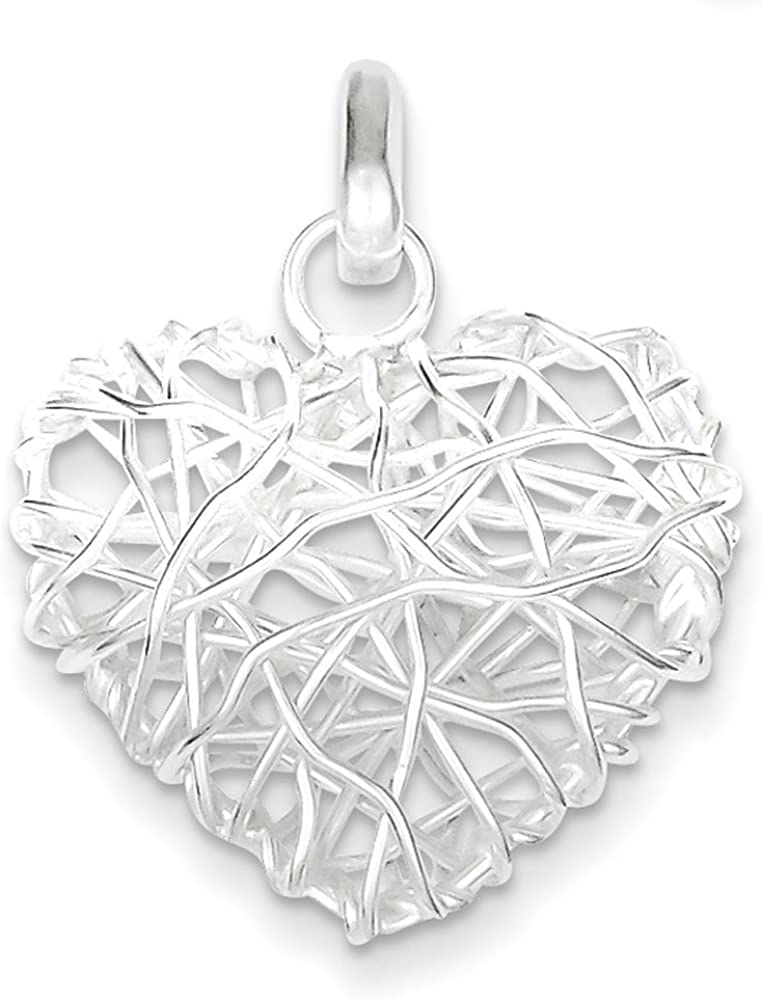 .925 Sterling Silver Polished Puffed Heart Charm Pendant 61GtUhStFgL