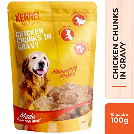 Kennel Kitchen Chicken Chunks in Gravy Dog Food, 100 g (Pack of 10) Wet Dog Food at amazon